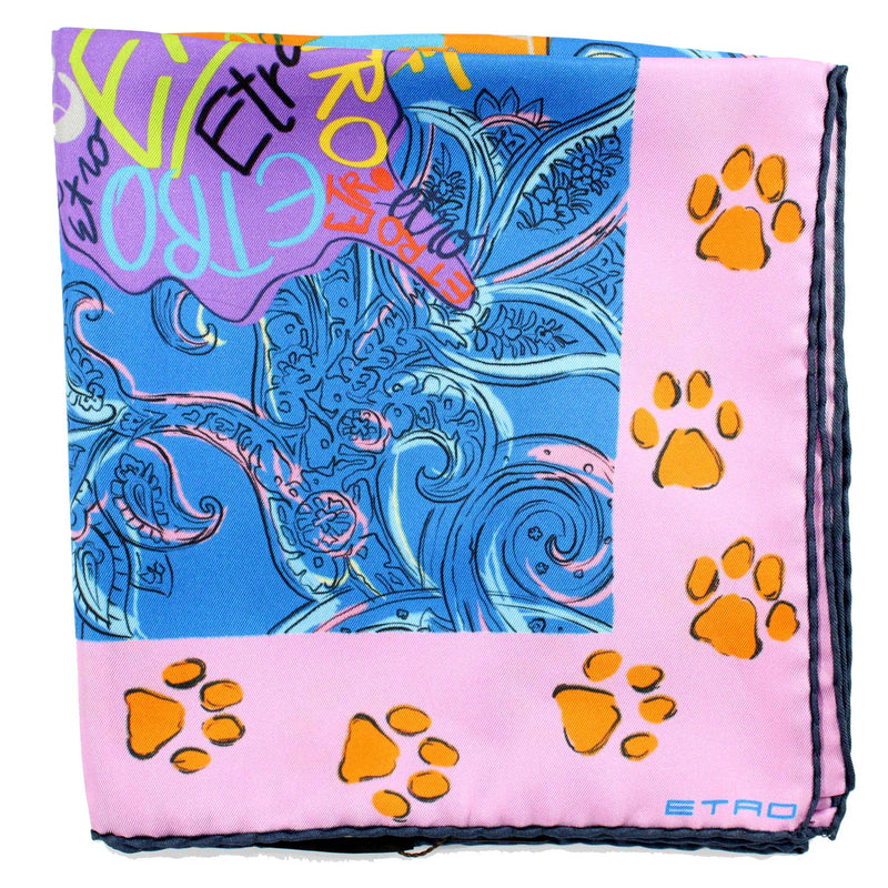 Etro Scarf Royal Blue Pink Logo Design - Large Twill Silk Scarf