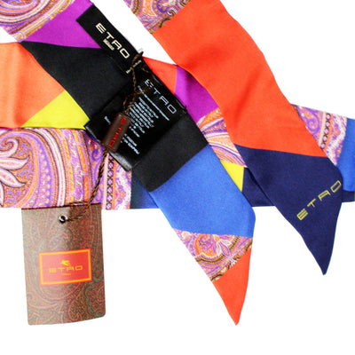 Etro Skinny Silk Scarf Orange Purple Yellow Navy Patched Design