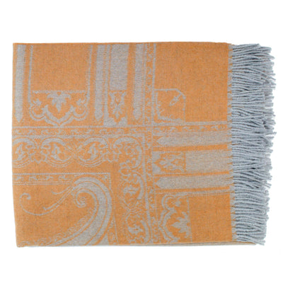 Etro Blanket Throw Rust Gray Paisley Cashmere Wool Silk