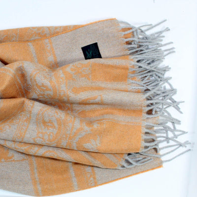 Etro Cashmere Throw Blanket Rust Gray Paisley SALE