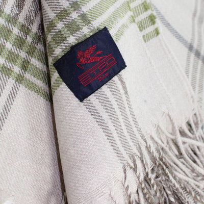 Etro Wool Throw Blanket Beige-Gray Green Plaid