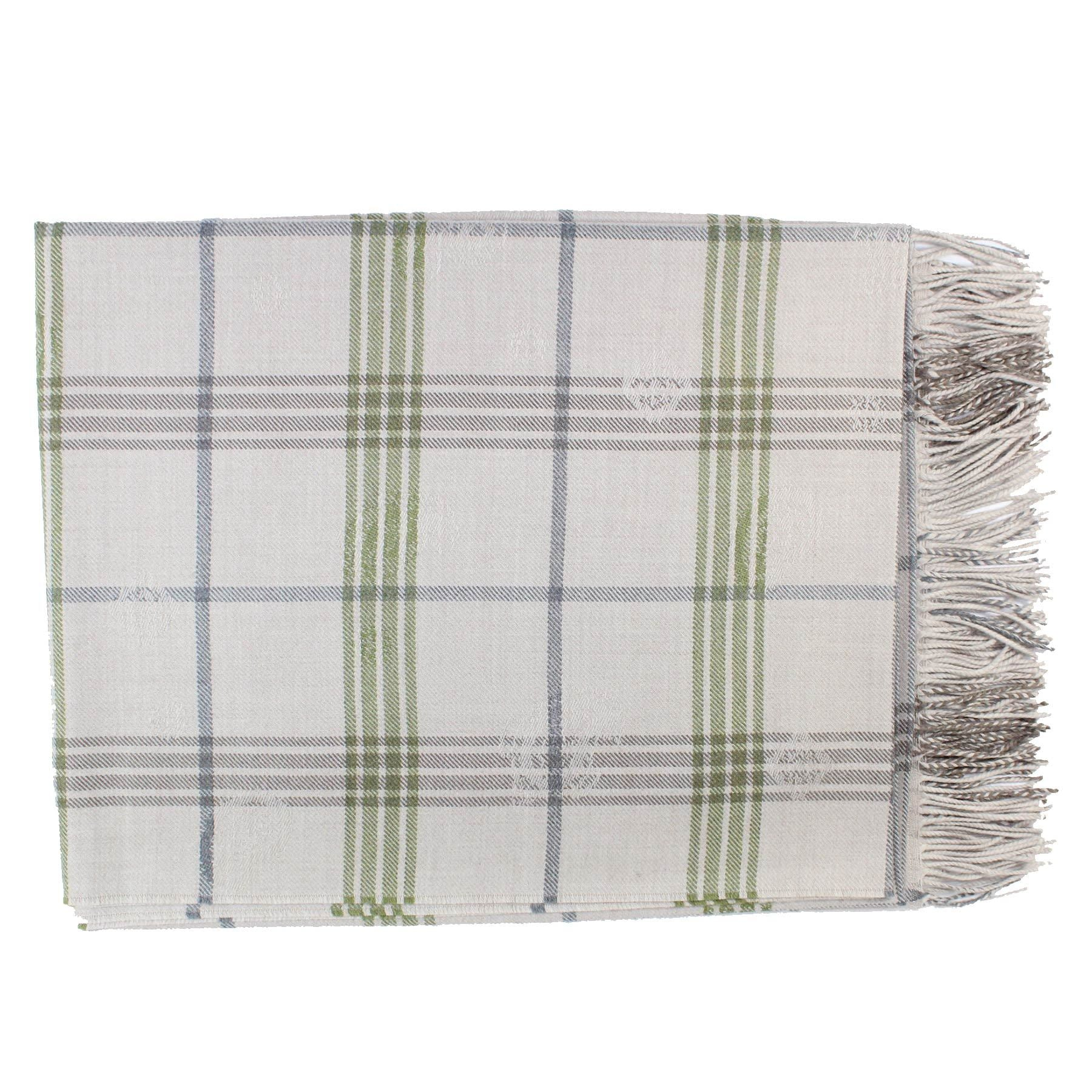 Etro Wool Throw Blanket Gray Green Plaid