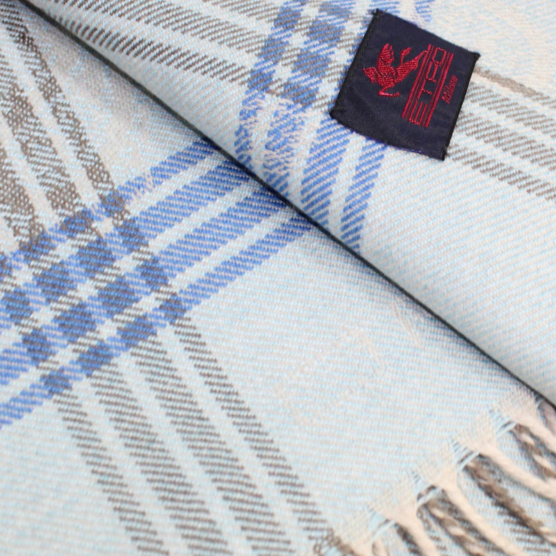Etro Wool Throw Blanket Sky Blue Gray Plaid