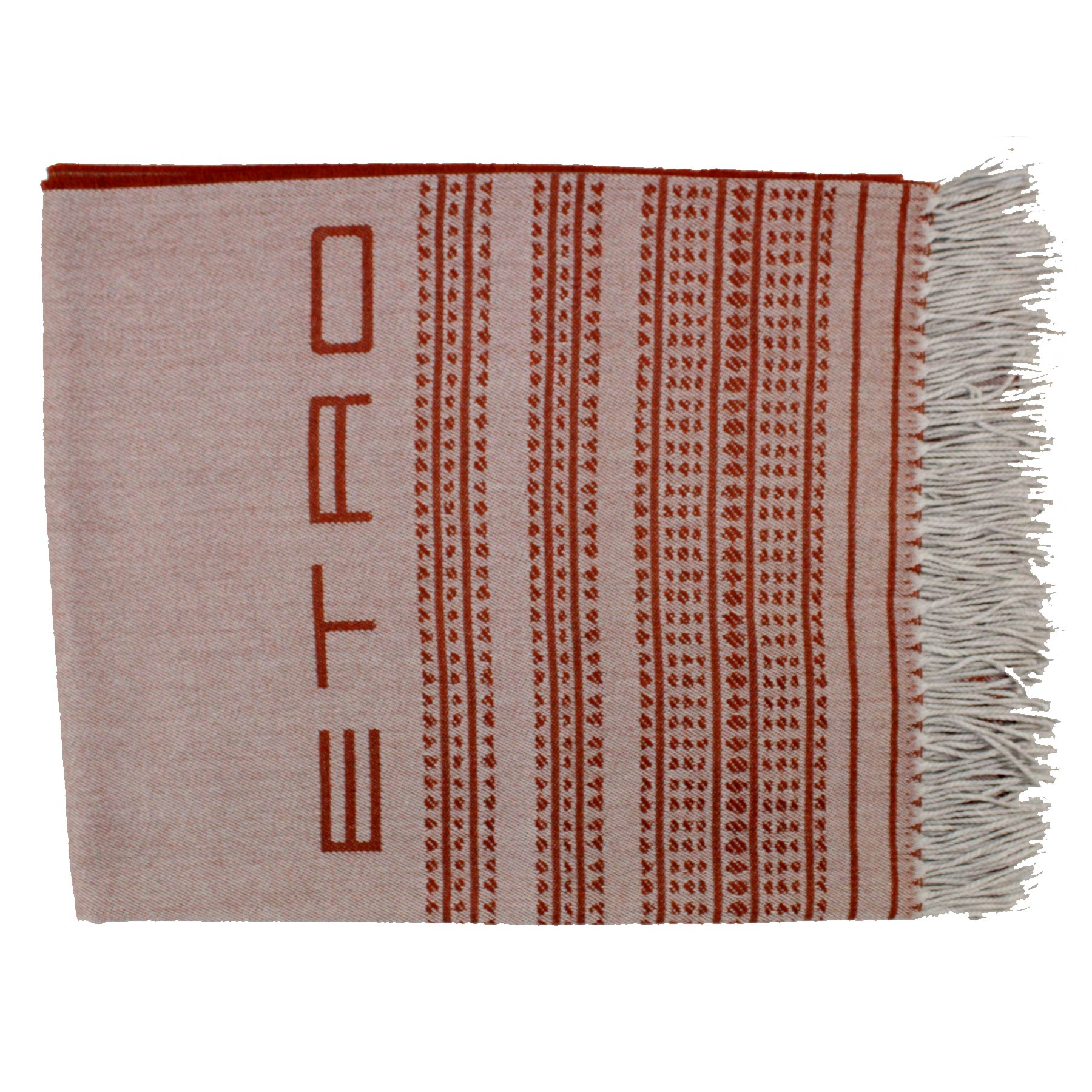 Etro Wool Throw Rust Brown Gray