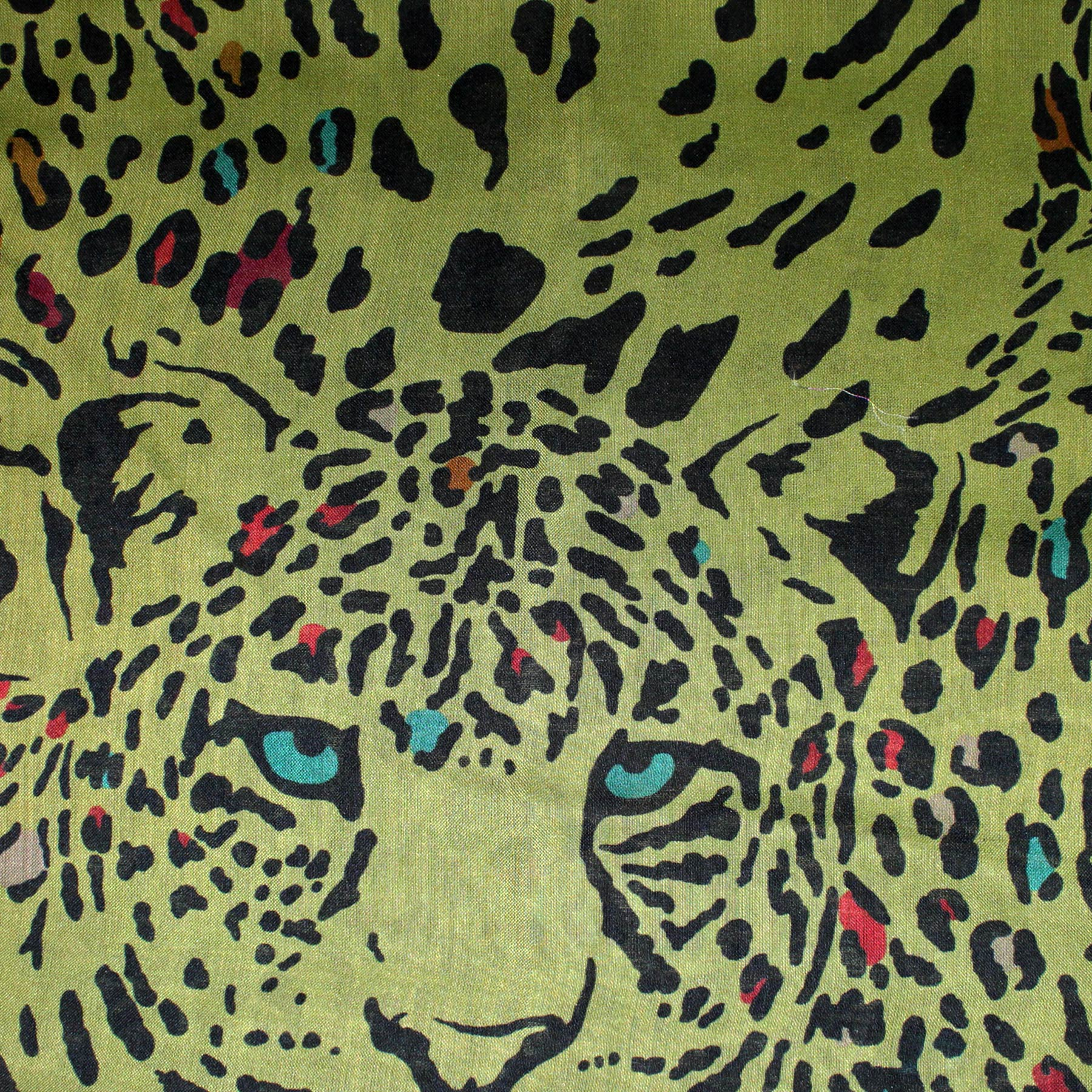 Etro Scarf Olive Panther Print - Extra Large Cashmere Silk Wrap SALE