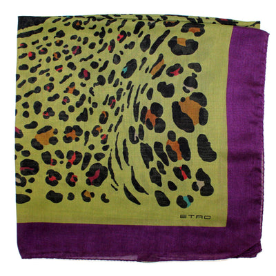 Etro Scarf Olive Panther Print - Extra Large Cashmere Silk Wrap