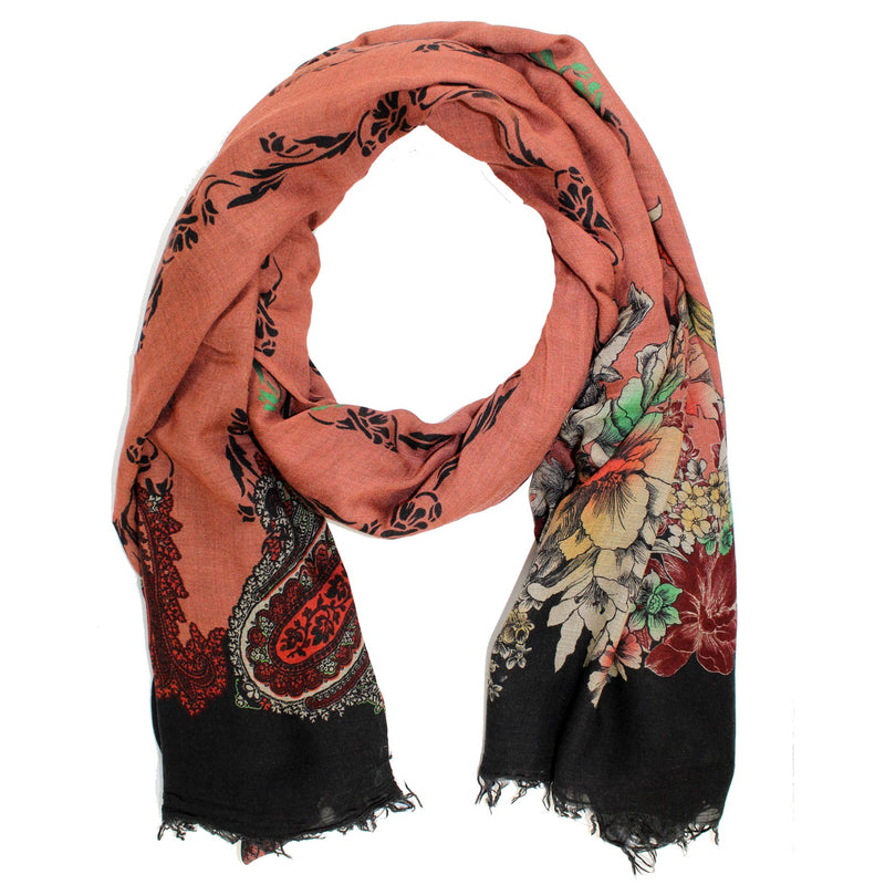Etro Scarf Brown Black Floral & Paisley - Women Collection Extra Large Shawl SALE