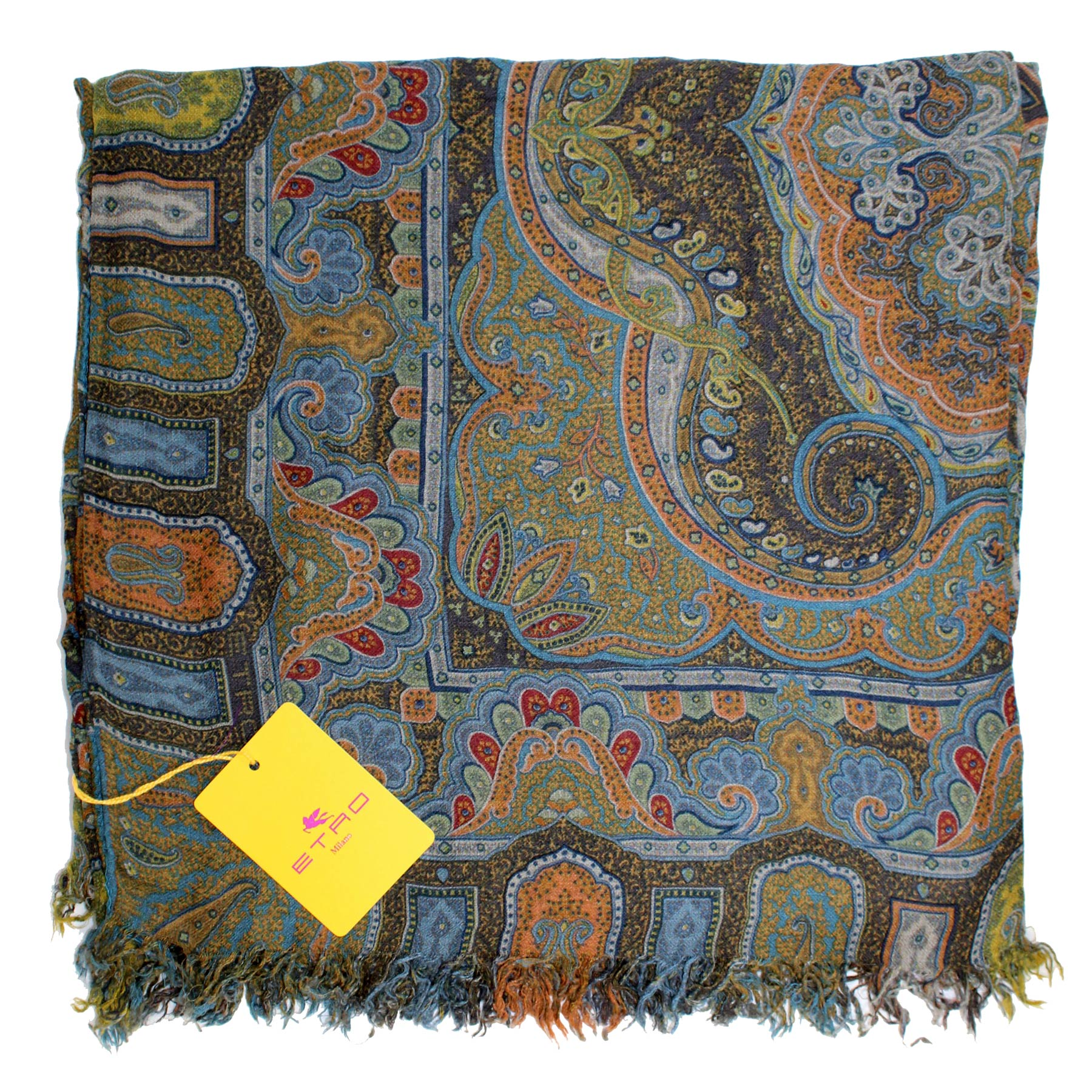 Etro Scarf Blue Green Brown Design New