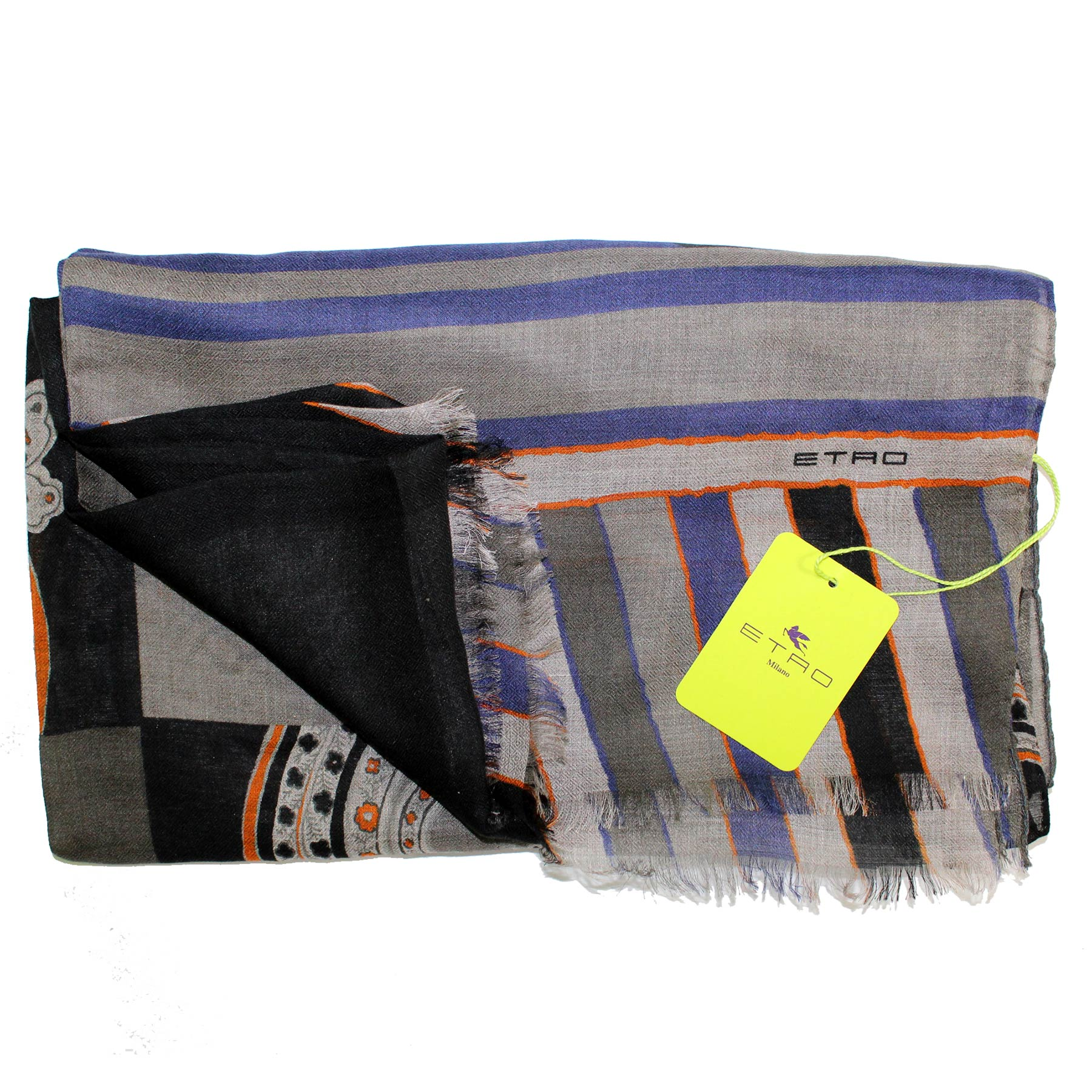 Etro Scarf Gray Purple Design - Modal Cashmere Shawl