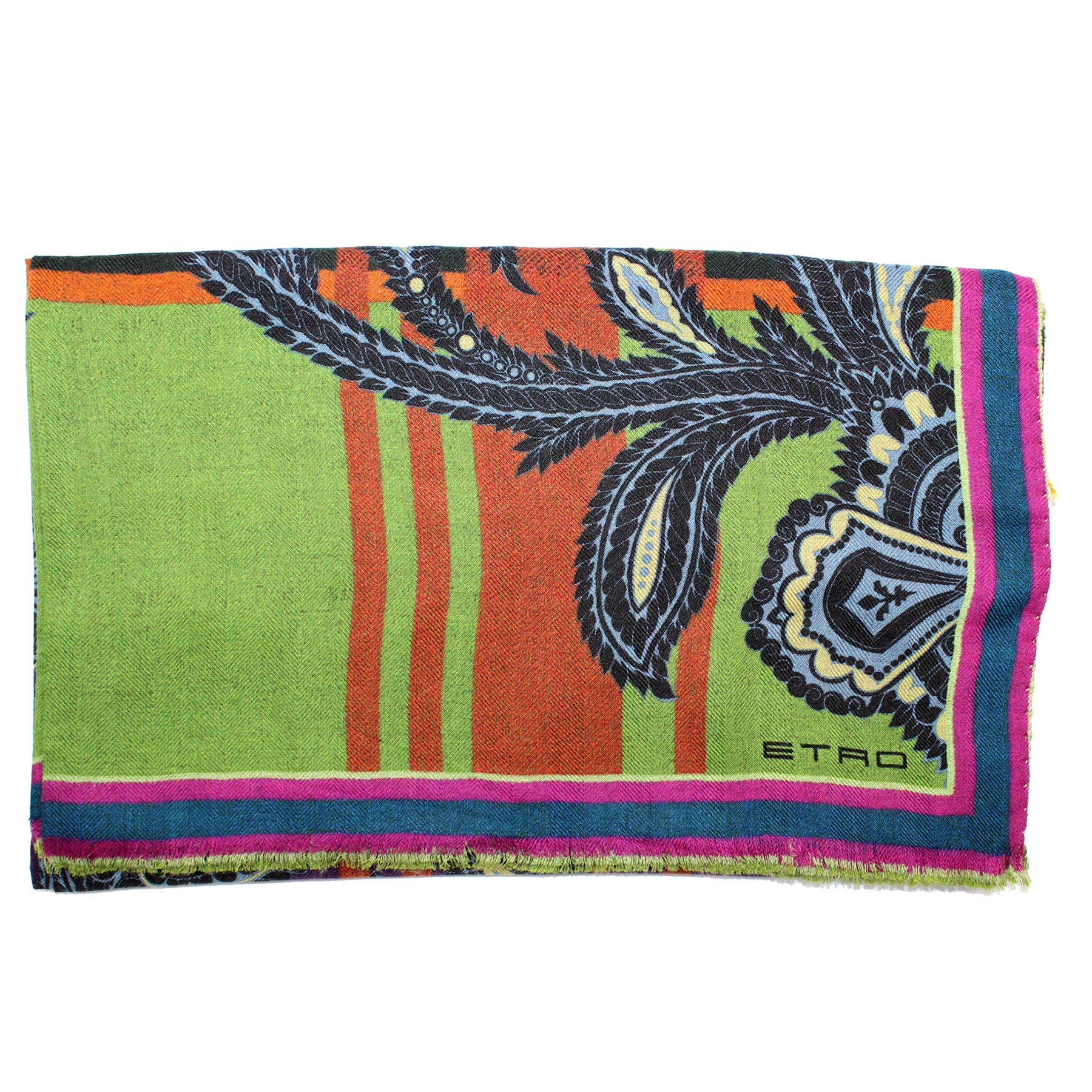 Etro Scarf Olive Purple Rust Orange Design Women Collection - Modal Cashmere Shawl
