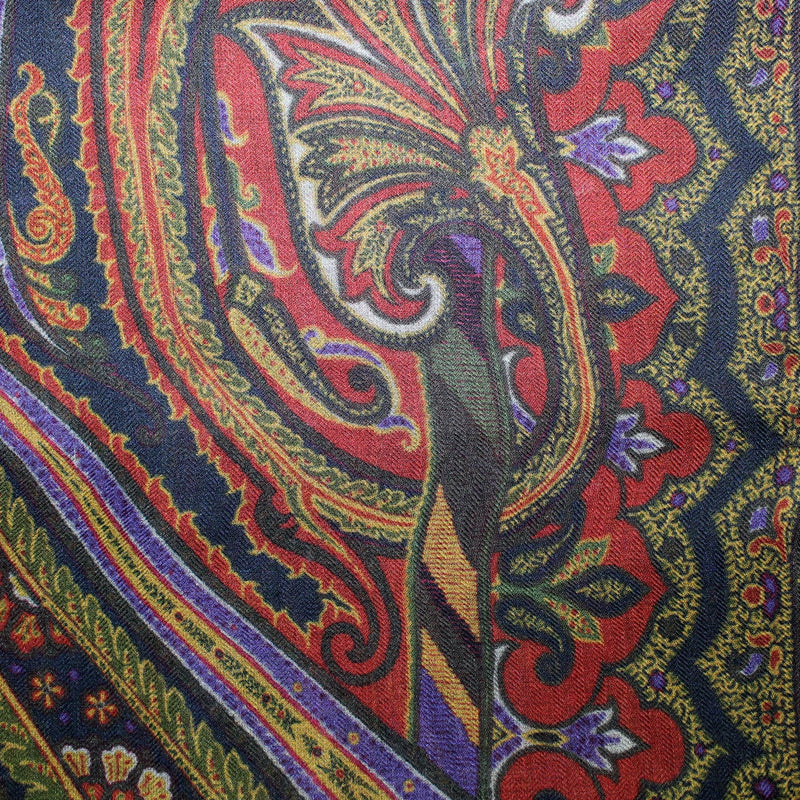Etro Scarf Green Brown Olive Ornamental