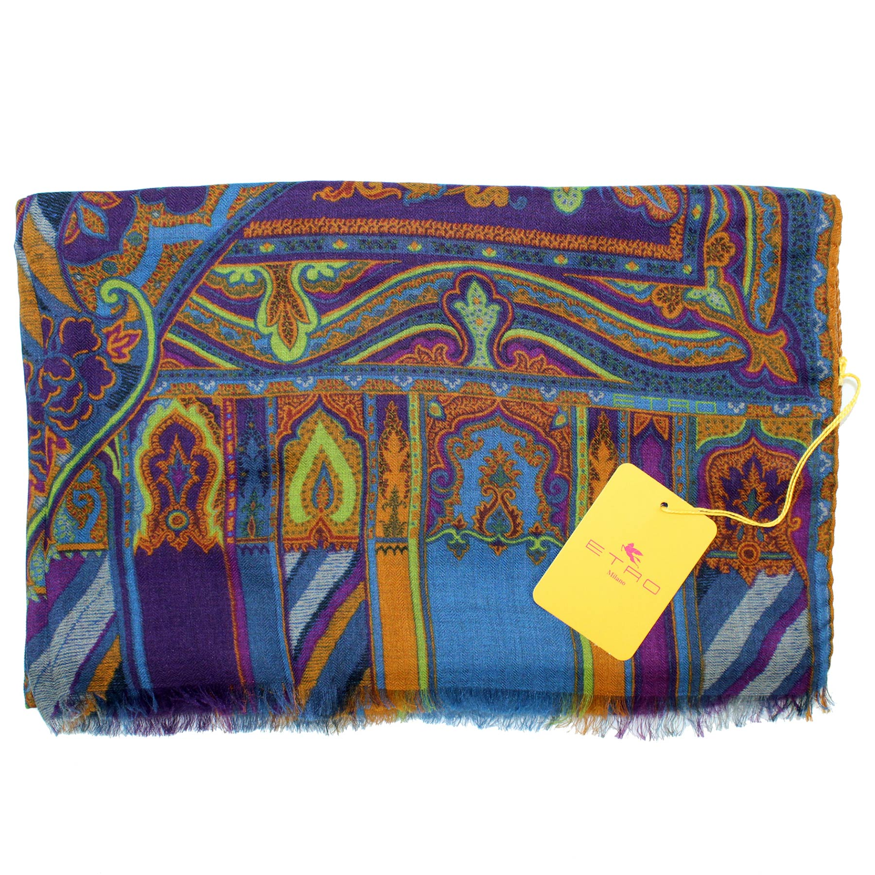 Etro Scarf Purple Blue Lime Ornamental Design - Modal Cashmere Shawl