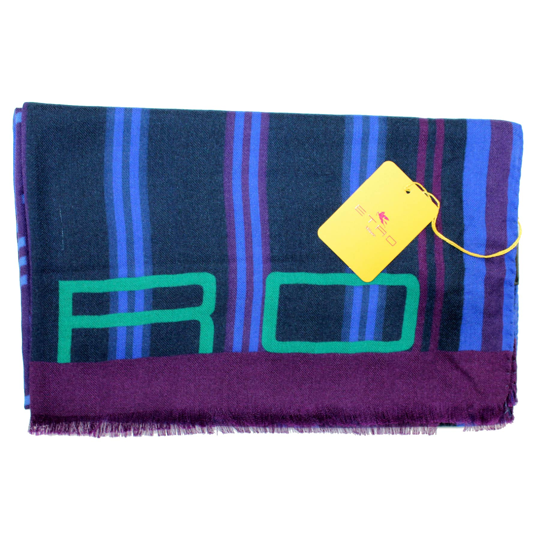 Etro Scarf Royal Blue Design - Women Collection Cashmere Silk Shawl