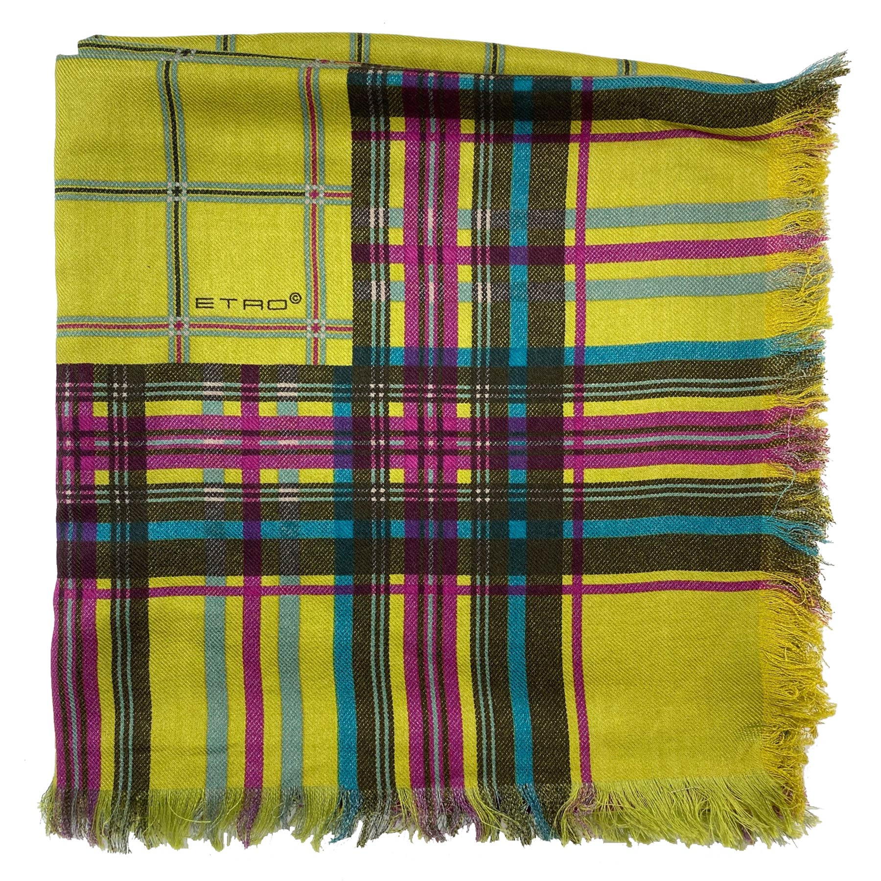 Etro Scarf Olive-Lime  Large Square Wool Silk Wrap