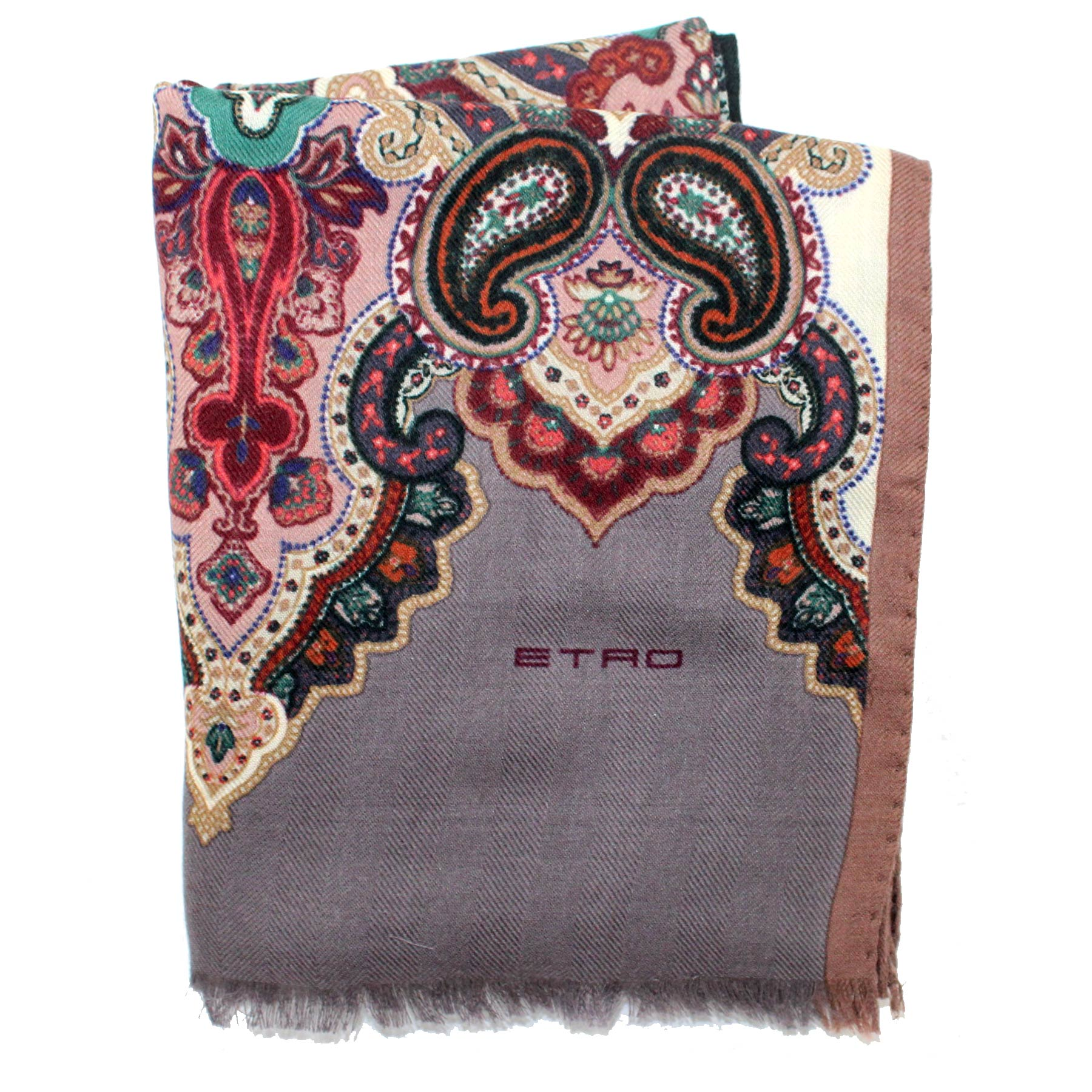 Etro Scarf Gray Ornamental Design - Cashmere Silk Shawl