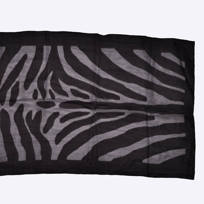 Fendi Scarf Tonal Black Tiger Stripes Print Silk Shawl SALE