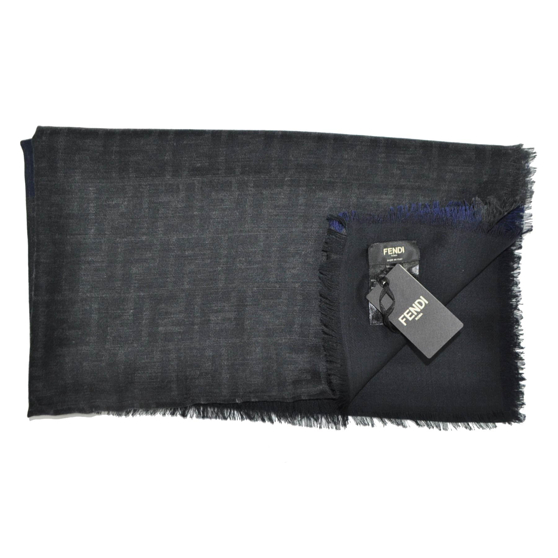 Fendi Scarf Charcoal Gray Midnight Blue Wool Blend
