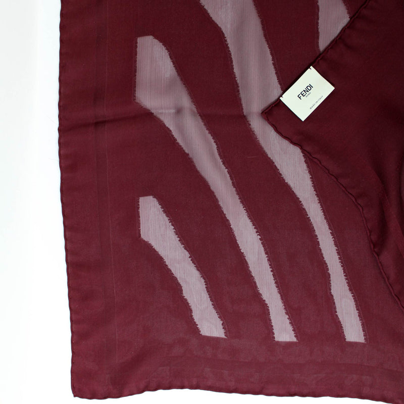 Fendi Scarf Tonal Maroon Tiger Stripes Silk Shawl SALE