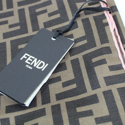 Fendi Scarf Brown FF Fendirama Pink Edge - Square Twill Silk Scarf