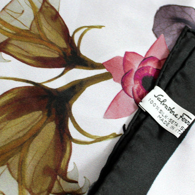 Salvatore Ferragamo Scarf Black Gray Dust Pink Floral Design - Large Square Silk Scarf FINAL SALE