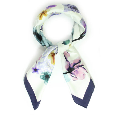Salvatore Ferragamo Scarf Purple Navy Floral Design - Large Square Silk Scarf FINAL SALE