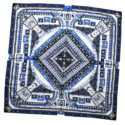 Salvatore Ferragamo Scarf Royal Blue Navy Design - Large Square Scarf