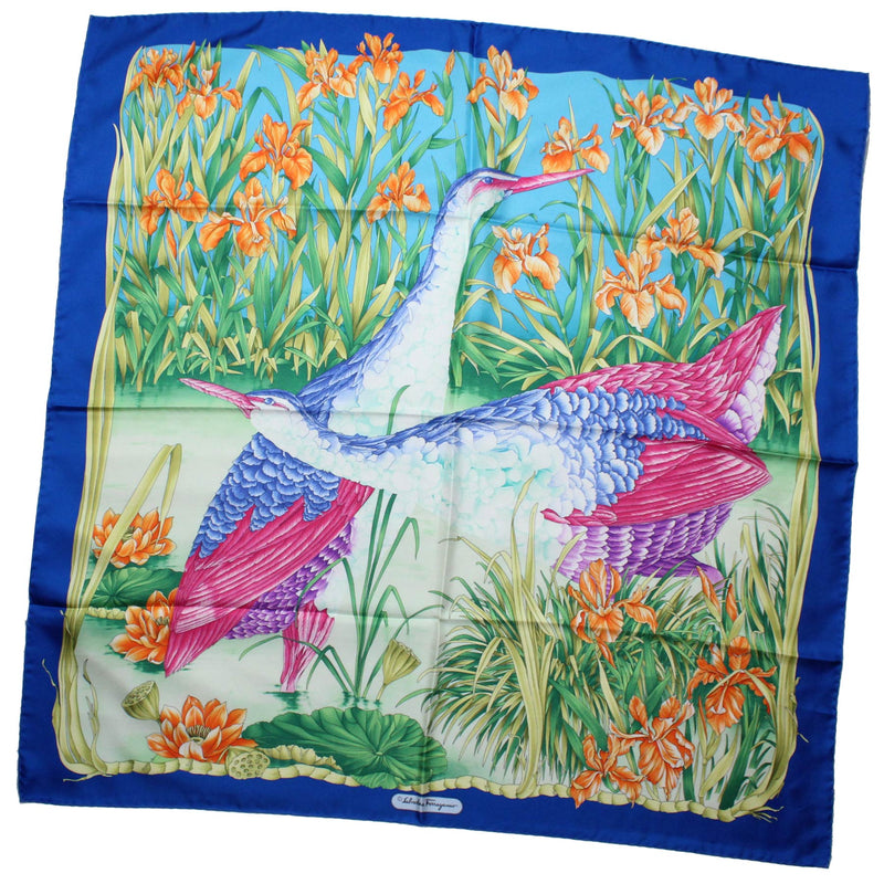 Salvatore Ferragamo Scarf Royal Blue Waterbirds - Large Twill Silk Square Scarf SALE