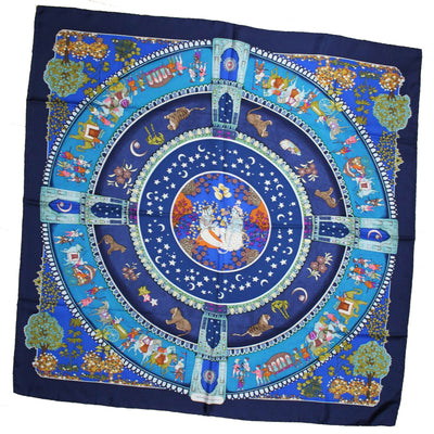 Ferragamo Scarf Navy Asian Elephant