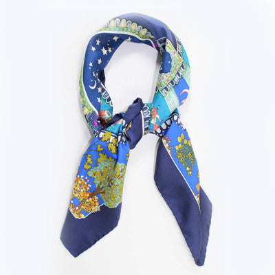 Salvatore Ferragamo Scarf Navy Asian Elephant Print
