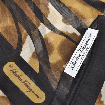 Salvatore Ferragamo Scarf Olive Brown Genuine