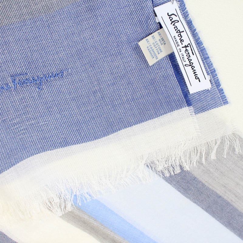 Salvatore Ferragamo Scarf Blue Cotton Cashmere Shawl