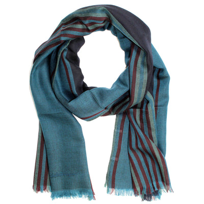 Salvatore Ferragamo Scarf Teal Blue Bordeaux Stripes - Wool Silk Shawl FINAL SALE