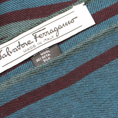 Ferragamo Scarf Teal Blue Bordeaux Stripes - Wool Silk Shawl