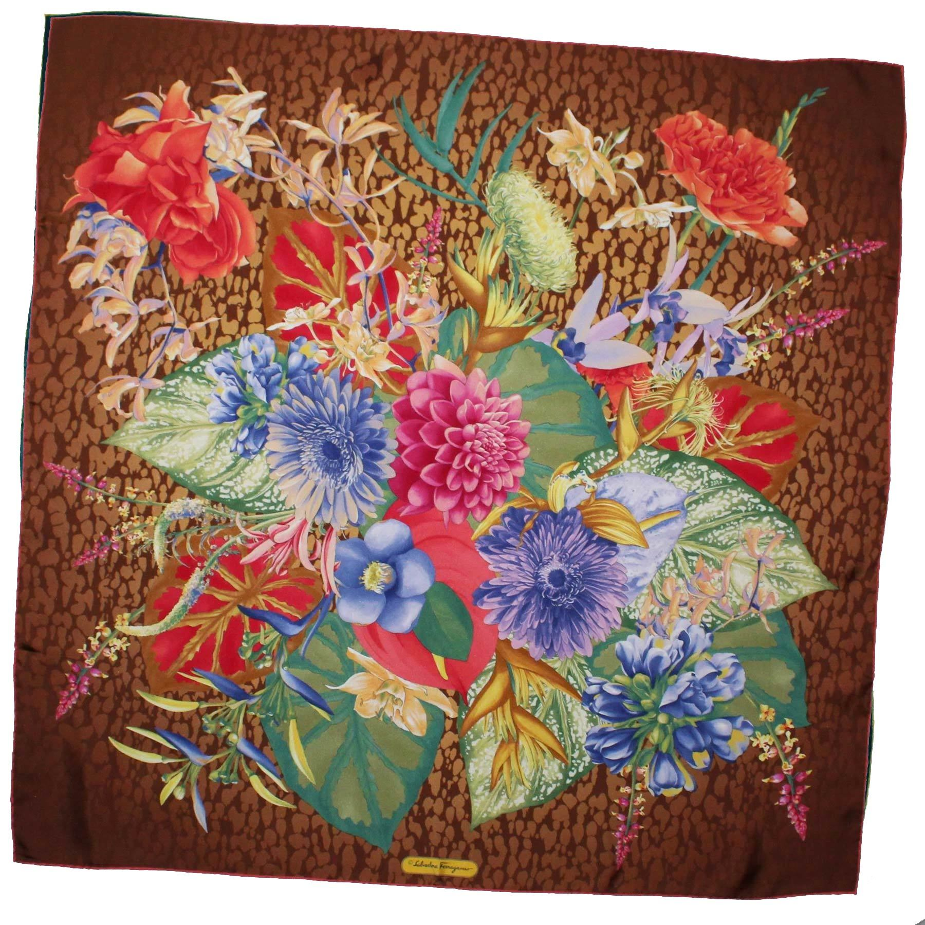 Salvatore Ferragamo Scarf Brown Floral