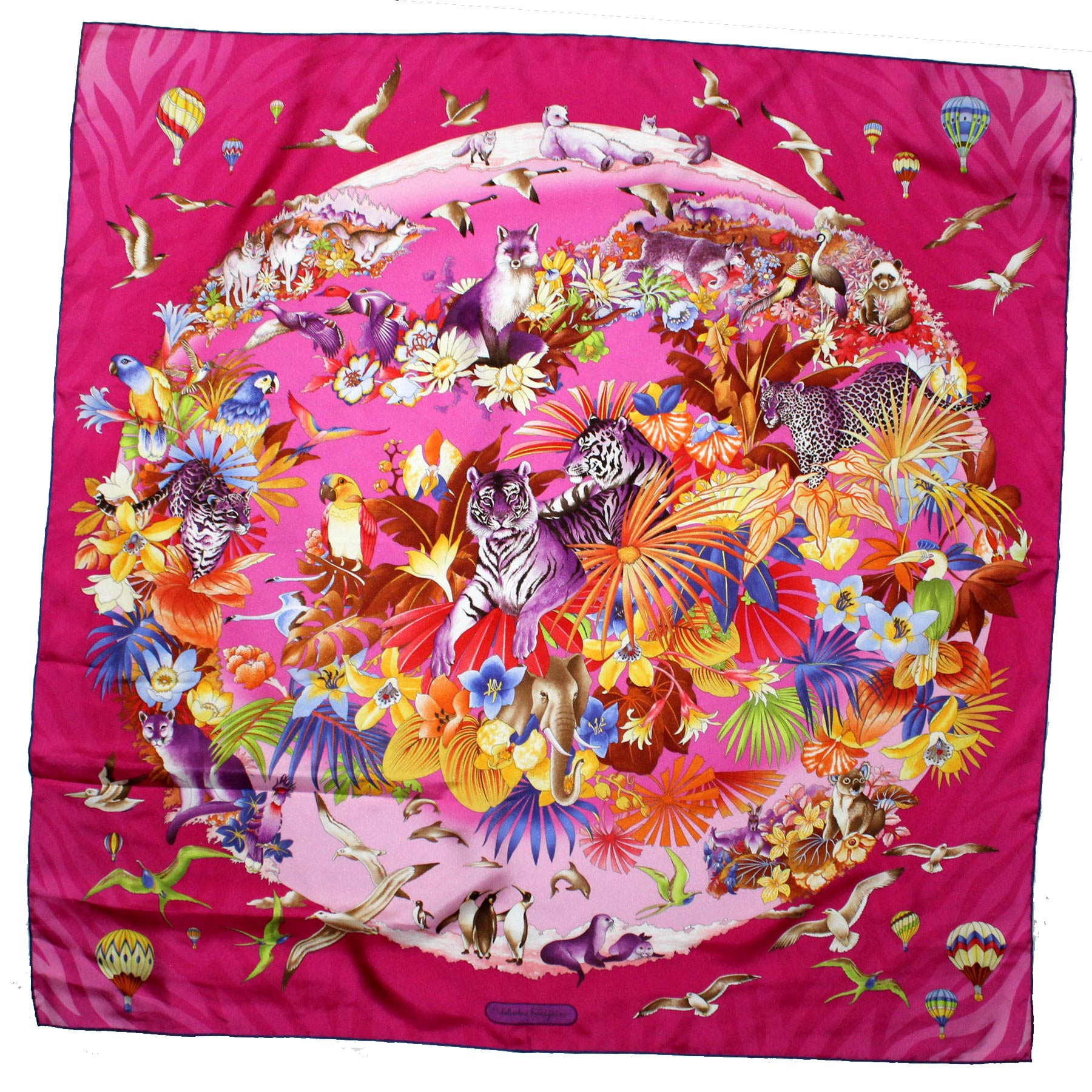 Salvatore Ferragamo Silk Scarf Fuchsia Pink Animal World