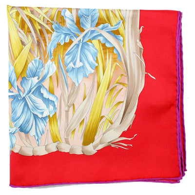 Salvatore Ferragamo Scarf Red Floral Design - Large Square Silk Scarf