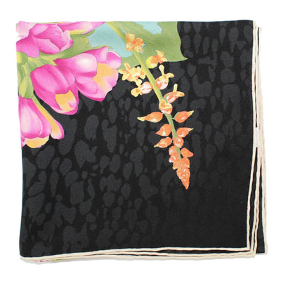 Salvatore Ferragamo Scarf Black Floral Bouquet