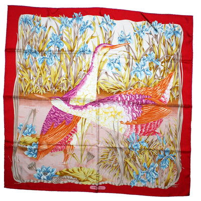Salvatore Ferragamo Scarf Red Floral & Water Birds Design - Large Square Silk Scarf