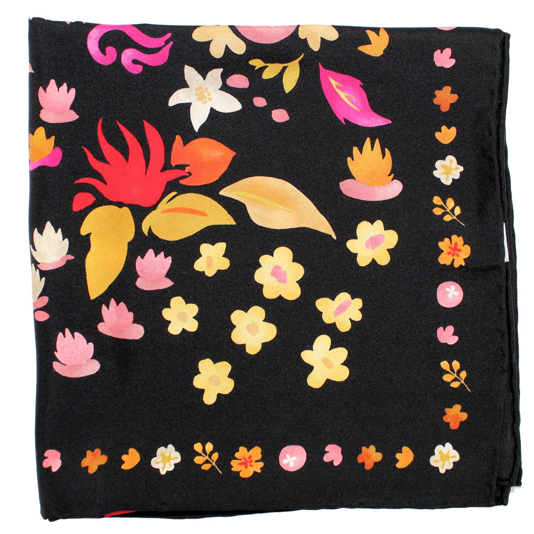 Salvatore Ferragamo Scarf Black Flowers