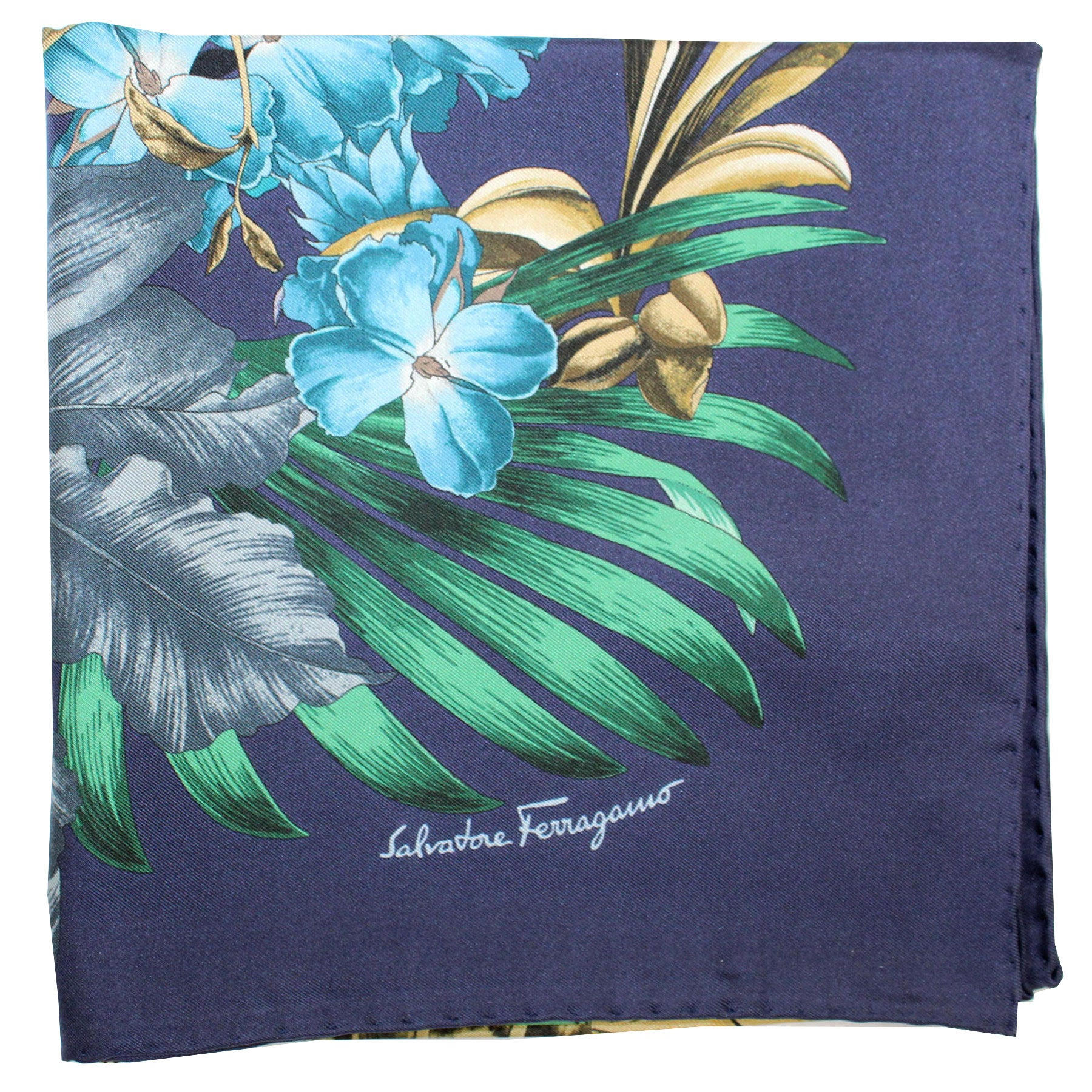 Ferragamo Scarf Navy Green Blue Jungle
