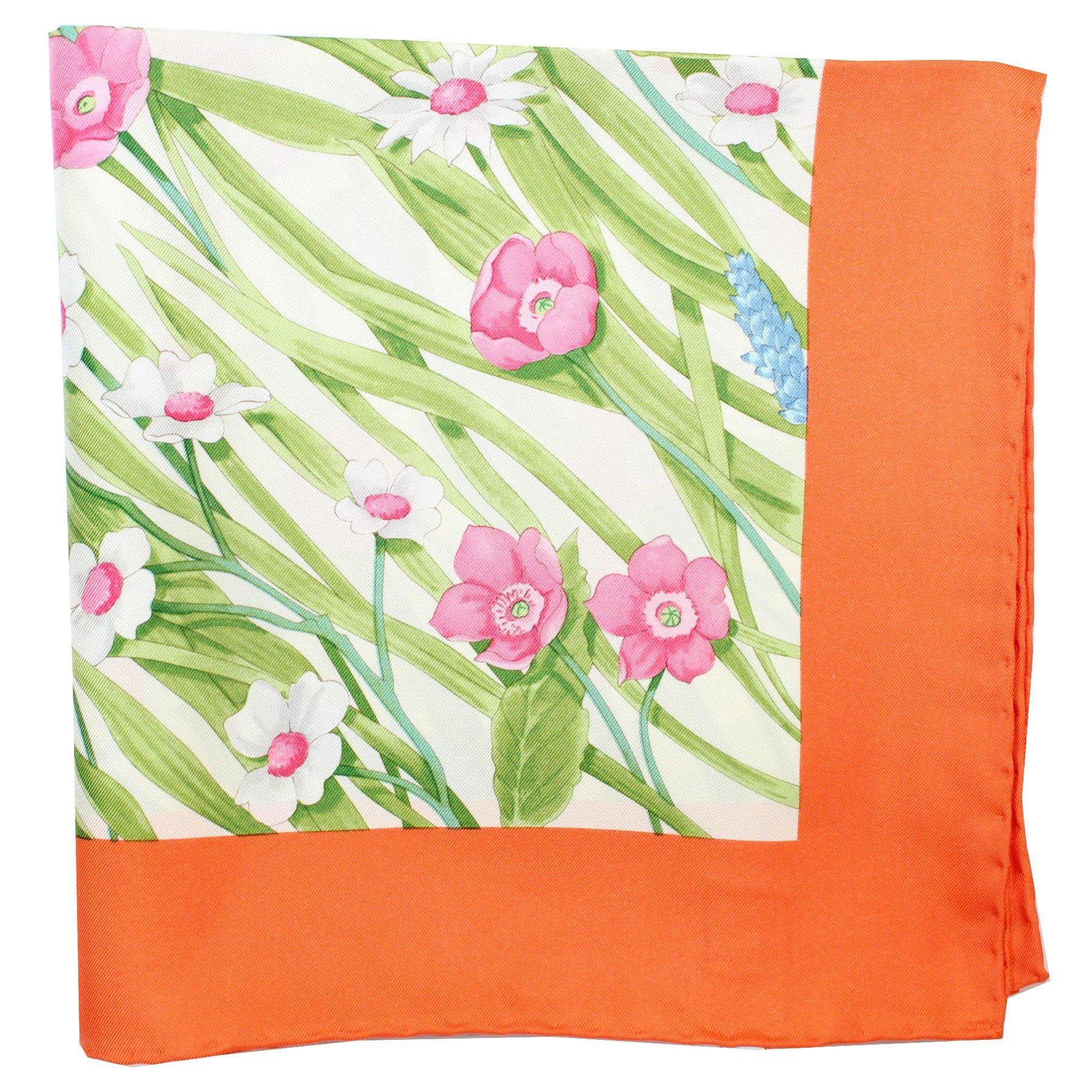 Salvatore Ferragamo Scarf Orange Green Pink Floral Alissa - Large Square Twill Silk Foulard