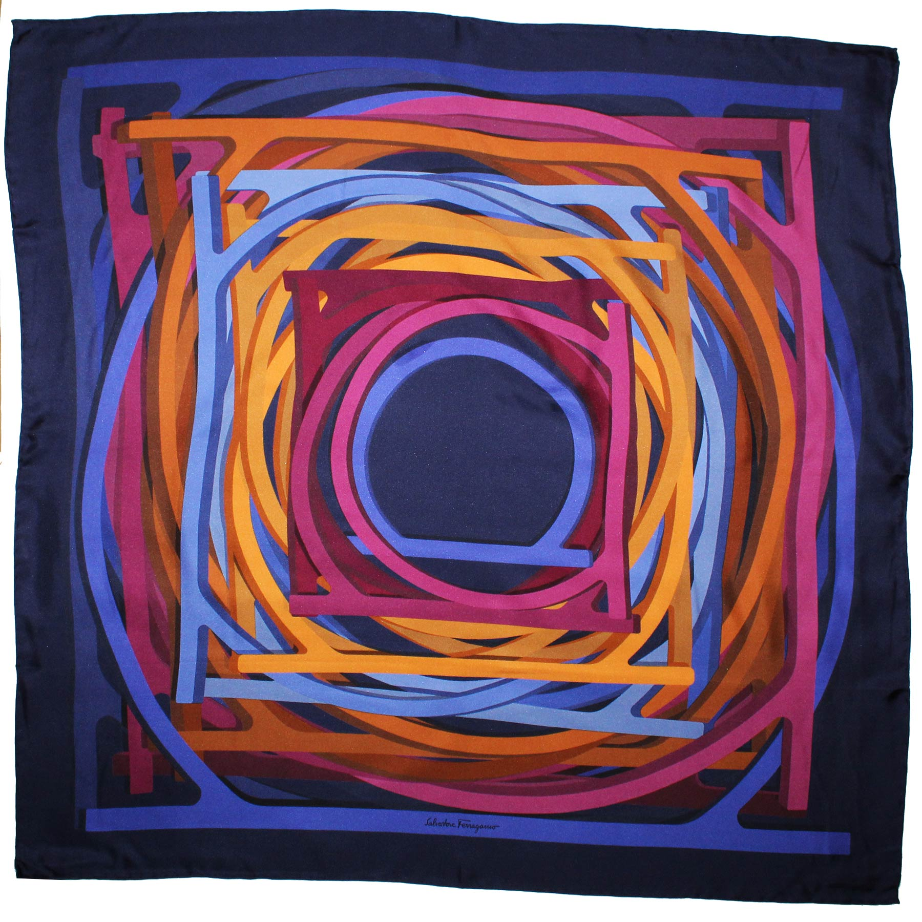 Salvatore Ferragamo Silk Scarf Navy Royal Blue Gancini - Large Square Foulard