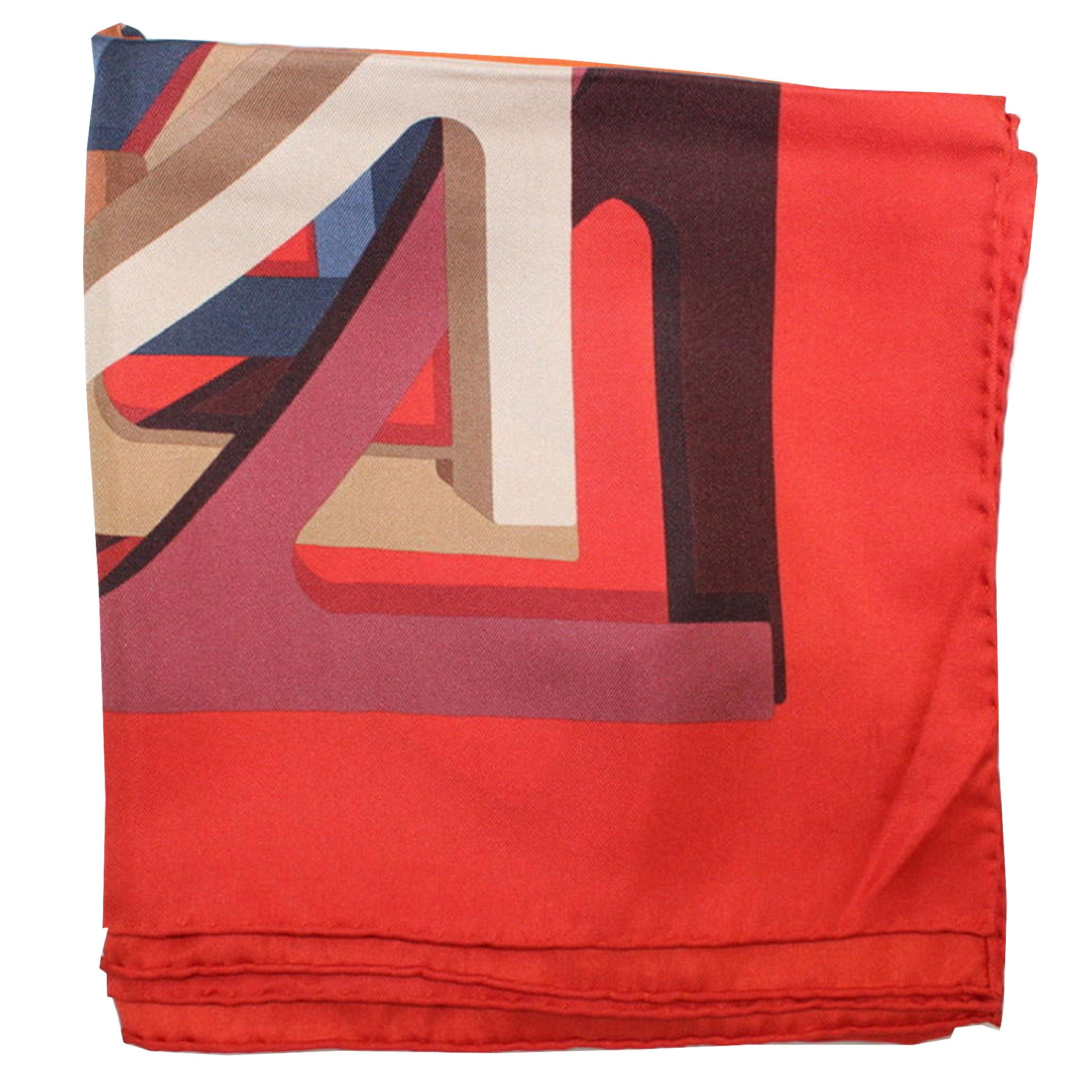 Salvatore Ferragamo Silk Scarf Red Navy Gancini - Large Square Foulard