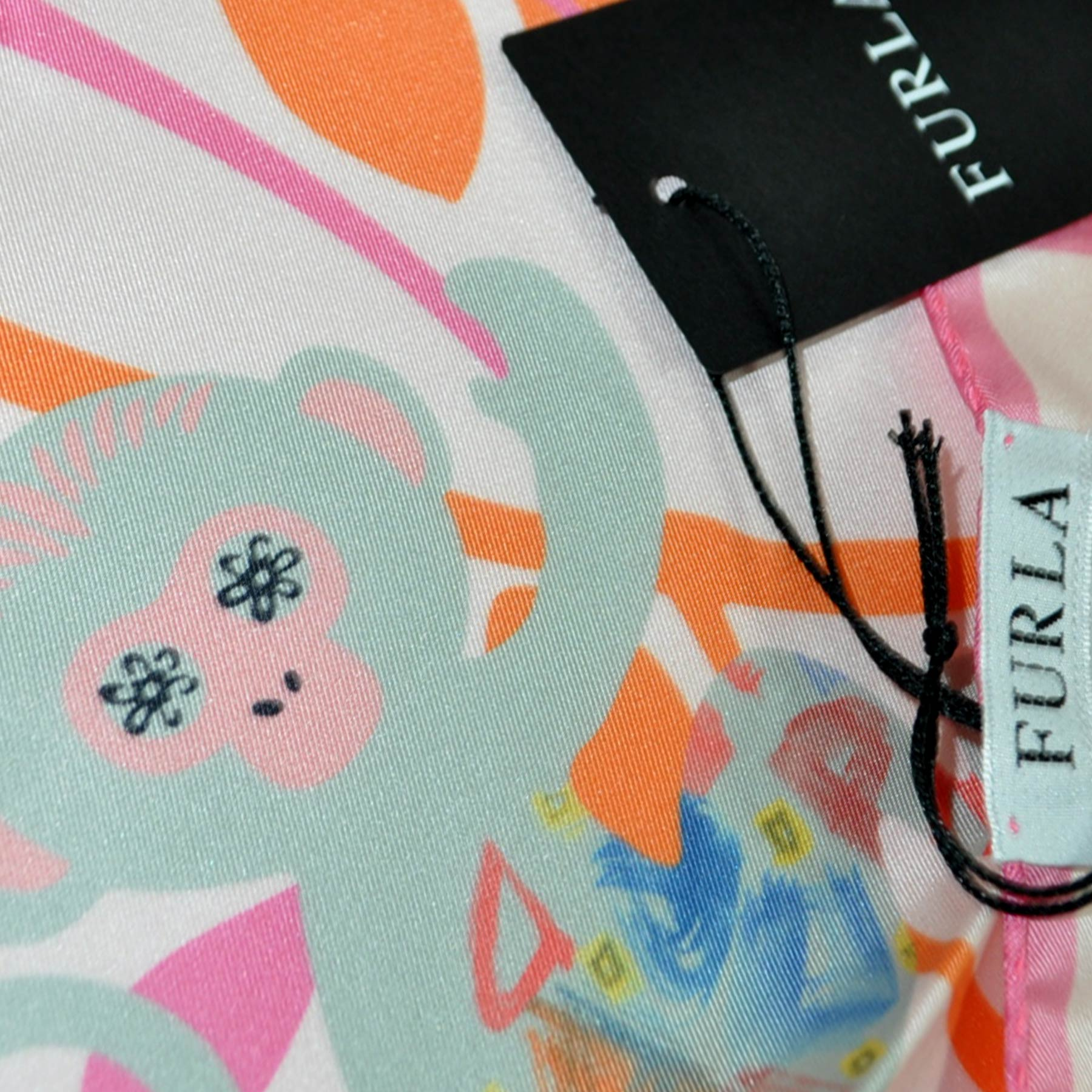 Furla Scarf Pink Monkeys & Purses Small Silk Square Scarf