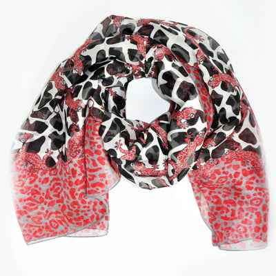 Furla Scarf Red Black Gecko Print - Extra Large Chiffon Silk Square Scarf SALE