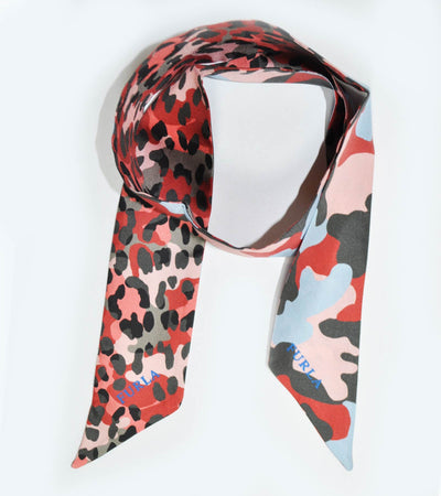 Furla Scarf Pink Taupe Black Camouflage