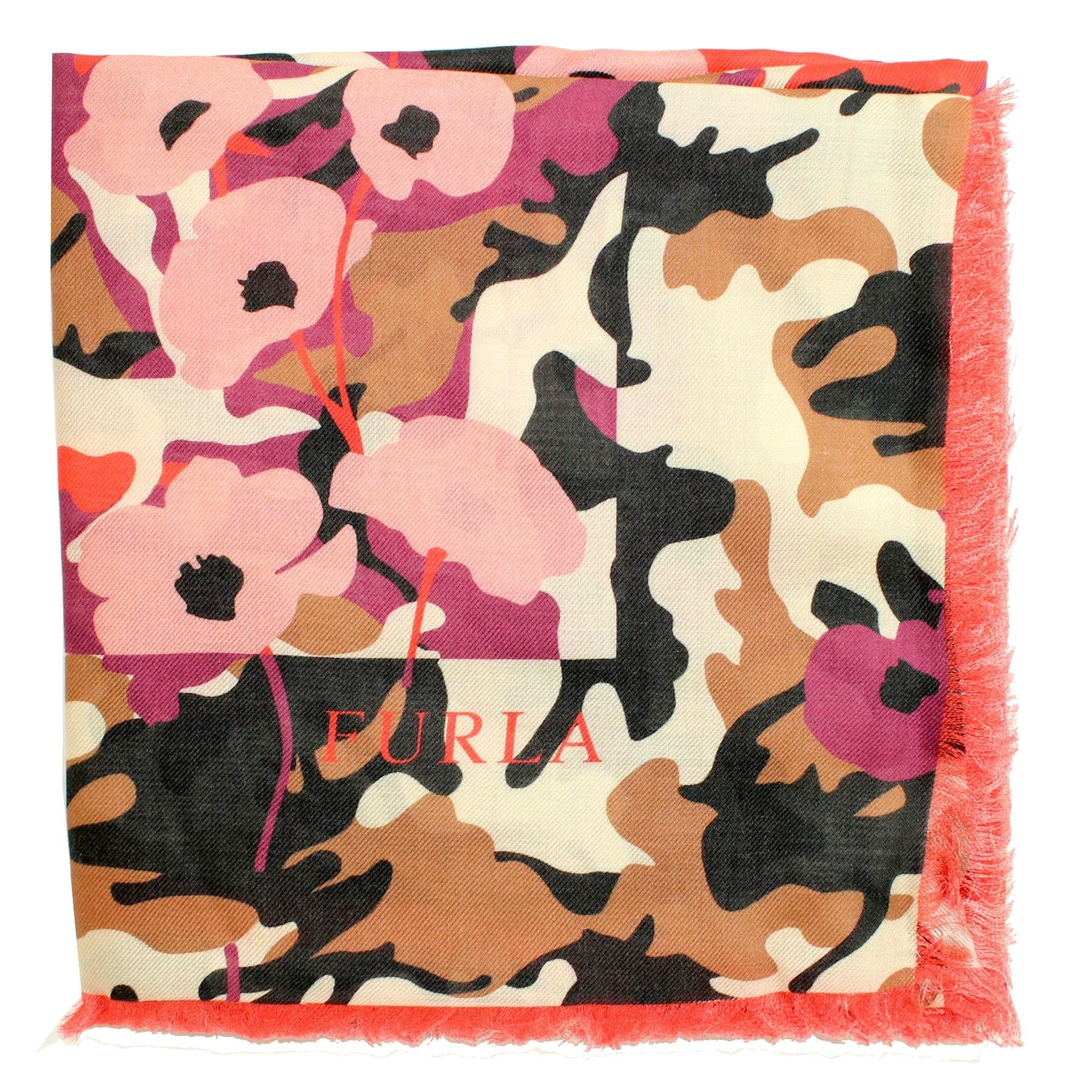Furla Scarf Pink Camo Modal Extra Large Square Scarf