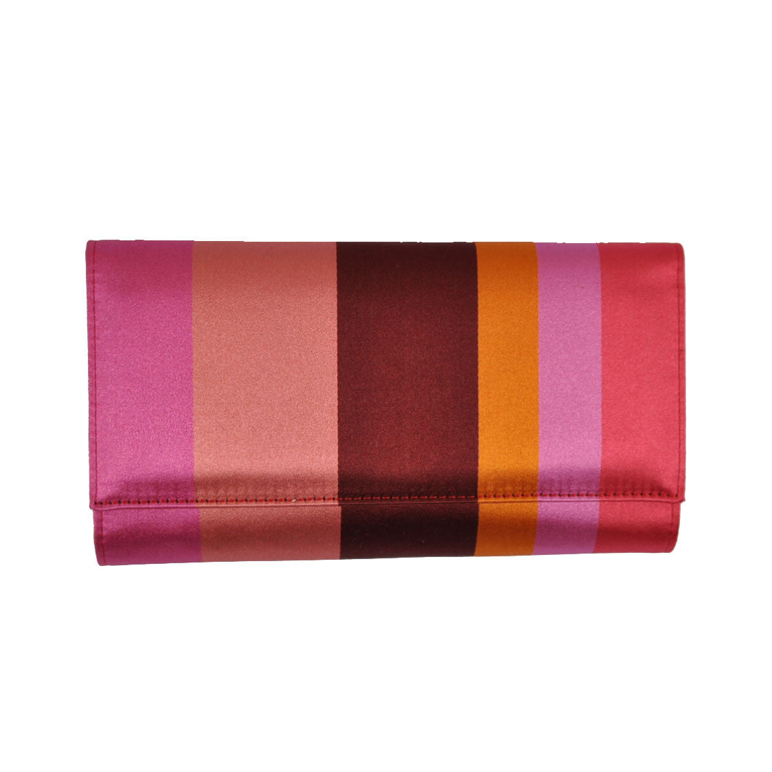 Gene Meyer Women Wallet Pink Stripes Leather Silk SALE