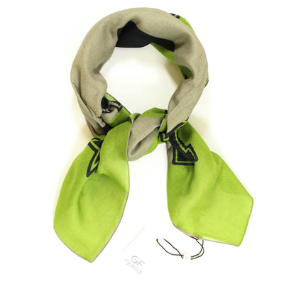 Gianfranco Ferre Scarf Olive Green Design - Large Square Modal Scarf FINAL SALE