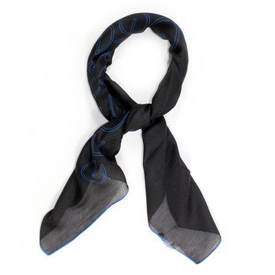 Gianfranco Ferre Scarf Black Royal Blue Logo Modal Silk Large Square Scarf